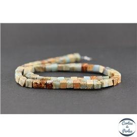 Perles semi précieuses en serpentine - Cube/6 mm