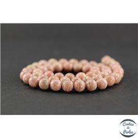 Perles semi précieuses en rhodochrosite d'Argentine - Ronde/8 mm - Grade A