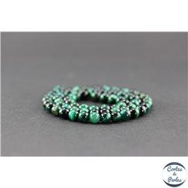 Perles semi précieuses en oeil de tigre vert - Ronde/6 mm