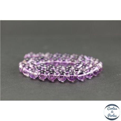 Perles semi précieuses en améthyste light - Ronde/8 mm - Grade A