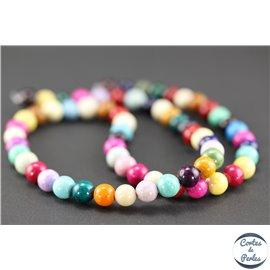 Perles en pierre de fossile multicolores - Rondes/6mm