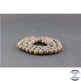Perles en bronzite dépolie - Ronde/6,5 mm
