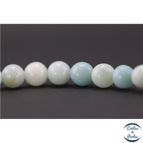Perles semi précieuses en amazonite - Rondes/6 mm - Aquamarine light - Grade A