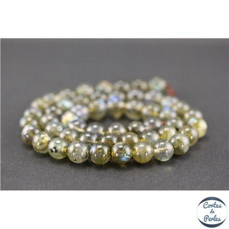Perles semi précieuses en labradorite dark - Rondes/8 mm - Grade AA