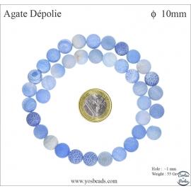Perles semi précieuses en agate - Rondes/10 mm - Bleu lavande dépoli