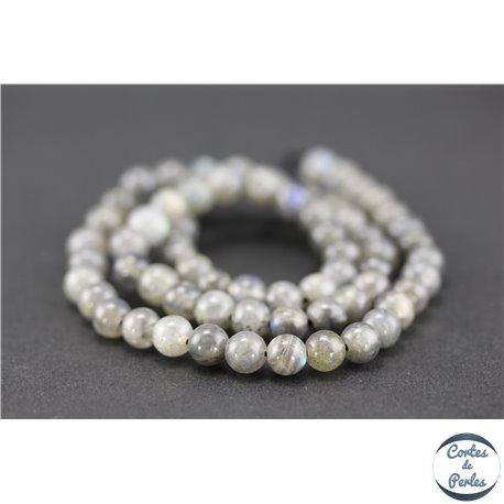 Perles semi précieuses en labradorite dark - Rondes/6 mm - Grade AA