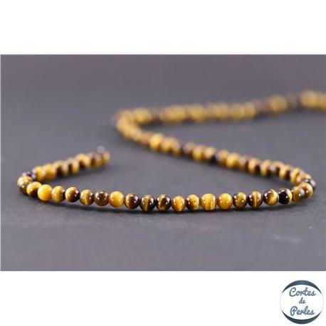 Perles en oeil de tigre - Ronde/4 mm - Grade A