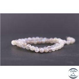 Perles en agate rubanée grise - Rondes/6mm - Grade A