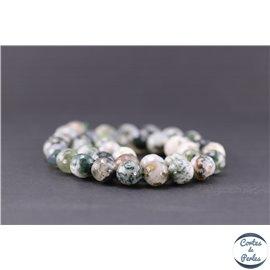 Perles facettées en agate arbre - Ronde/10 mm
