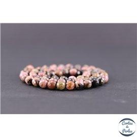 Perles facettées en rhodonite - Ronde/6 mm