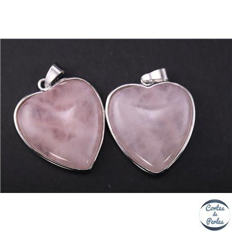 Pendentifs en quartz rose - Coeur/36 mm
