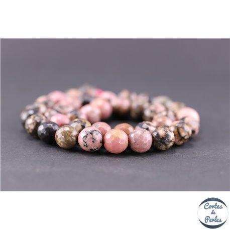 Perles facettées en rhodonite - Ronde/10 mm