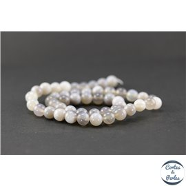 Perles en agate rubanée grise - Rondes/8mm - Grade A