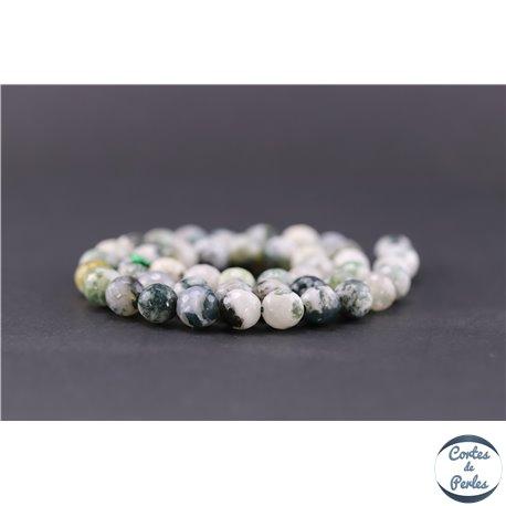 Perles facettées en agate arbre - Ronde/8 mm
