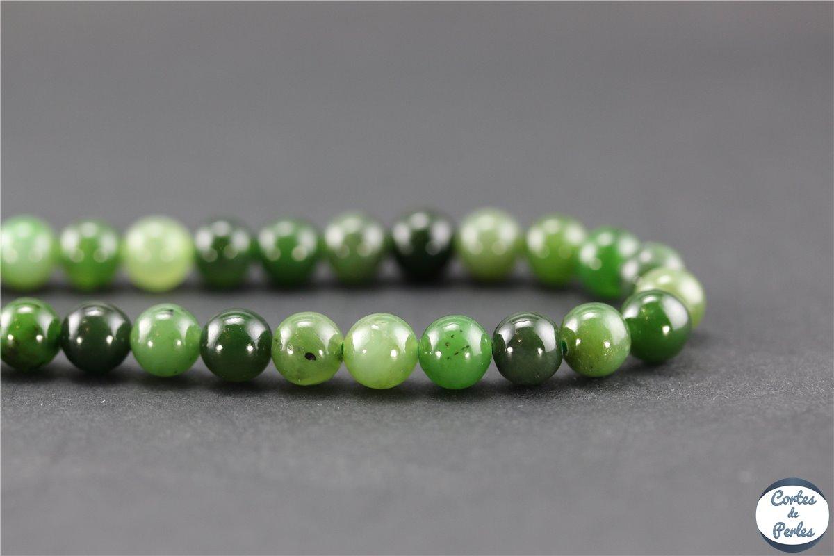 pierre semi-précieuse Bracelet pierre de lave Jade néphrite perles 8 mm