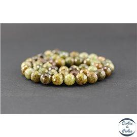 Perles facettées en grenat vert - Rondes/8mm