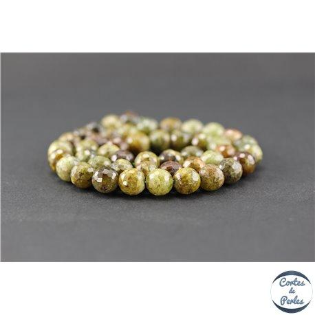 Perles facettées en grenat vert - Ronde/8 mm