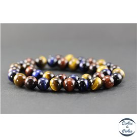 Perles en oeil de tigre multicolores - Rondes/10mm - Grade A