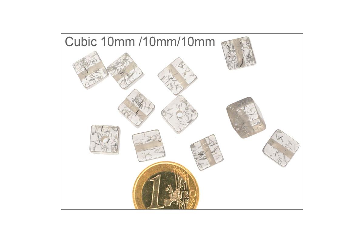 grossiste perles en r sine synth tique cubes 10 mm transparent pas cher. Black Bedroom Furniture Sets. Home Design Ideas