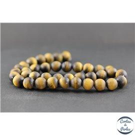 Perles dépolies en oeil de tigre - Rondes/10mm