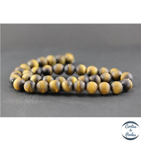 Perles dépolies en oeil de tigre - Ronde/10 mm