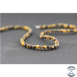 Perles dépolies en oeil de tigre - Rondes/4mm