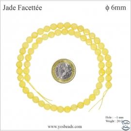 Perles semi précieuses en marbre - Rondes/6 mm - Bouton d'or