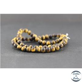 Perles dépolies en oeil de tigre - Rondes/6mm