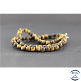 Perles dépolies en oeil de tigre - Ronde/6 mm