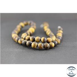 Perles dépolies en oeil de tigre - Ronde/8 mm