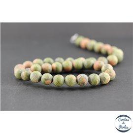 Perles dépolies en unakite - Ronde/10 mm