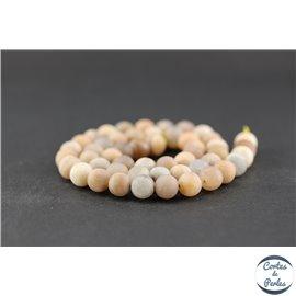 Perles dépolies en pierre de soleil - Ronde/8 mm
