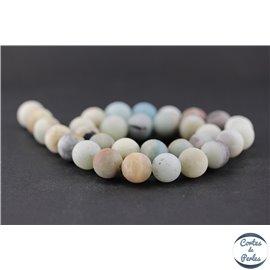 Perles dépolies en amazonite - Rondes/12mm