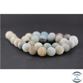 Perles dépolies en amazonite - Ronde/12 mm