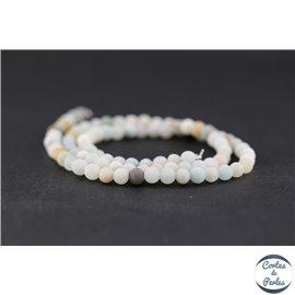 Perles dépolies en amazonite - Rondes/4mm