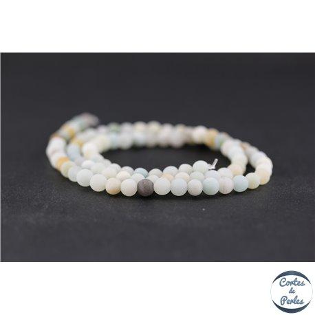 Perles dépolies en amazonite - Ronde/4 mm