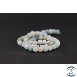 Perles dépolies en amazonite - Rondes/6mm