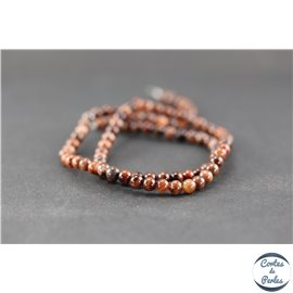 Perles en obsidienne acajou - Ronde/4 mm