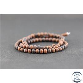 Perles dépolies en obsidienne acajou - Ronde/4 mm