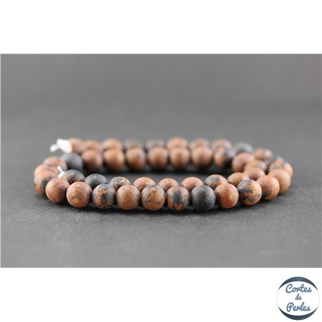Perles dépolies en obsidienne acajou - Ronde/8 mm