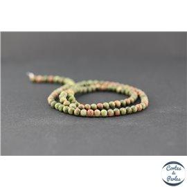 Perles dépolies en unakite - Ronde/4 mm