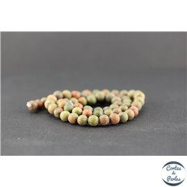 Perles dépolies en unakite - Rondes/6mm