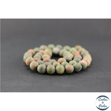 Perles dépolies en unakite - Ronde/8 mm