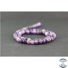 Perles dépolies en améthyste - Ronde/6 mm