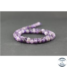 Perles dépolies en améthyste - Rondes/6mm - Grade B