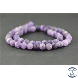 Perles dépolies en améthyste - Rondes/8mm - Grade B