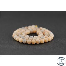 Perles dépolies en pierre de Lune - Ronde/6 mm