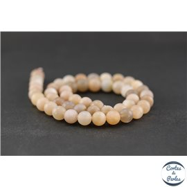 Perles dépolies en pierre de Lune - Ronde/8 mm