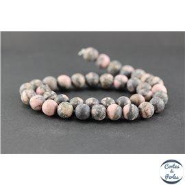 Perles dépolies en rhodonite - Ronde/10 mm
