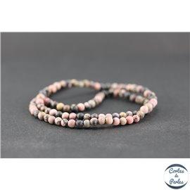 Perles dépolies en rhodonite - Ronde/4 mm